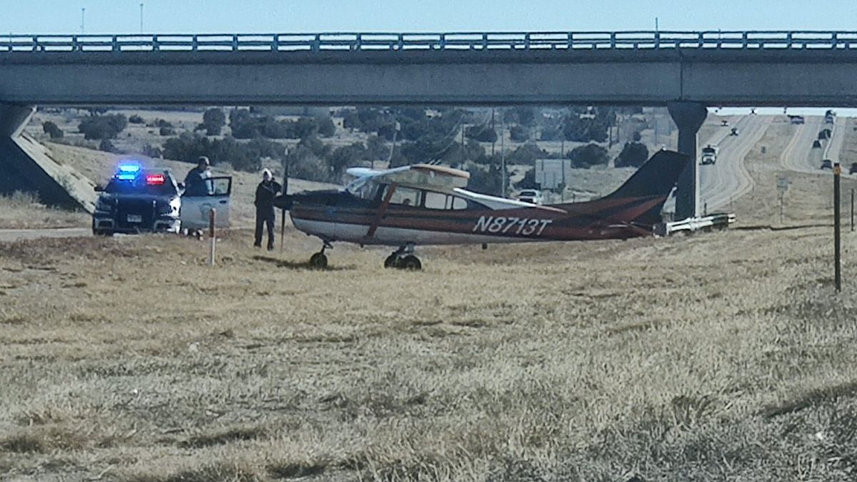Troopers assess the scene where a small plane made an emergency landing.