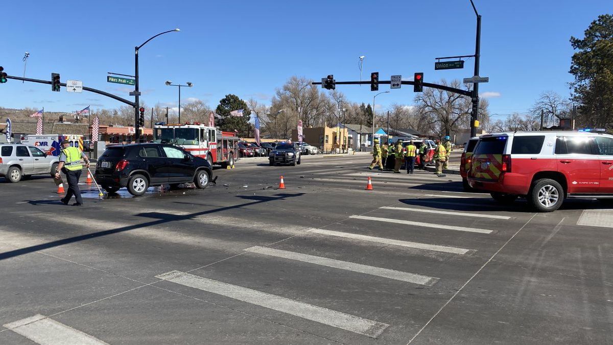 The intersection of Pikes Peak and Union following a crash involving a Colorado Springs Fire...