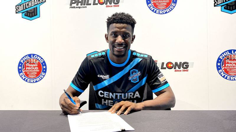 Switchbacks FC forward Hadji Barry smiles after signing a two-year extension with the club