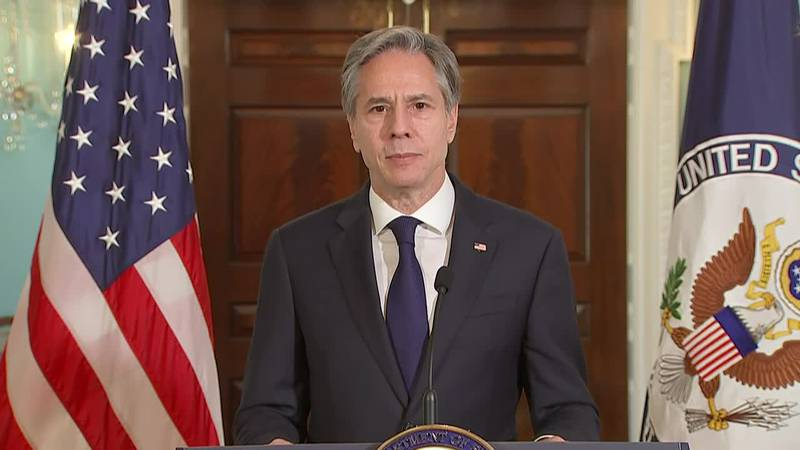 Secretary of State Anthony Blinken pays tribute to the leadership of Colin Powell, a former...