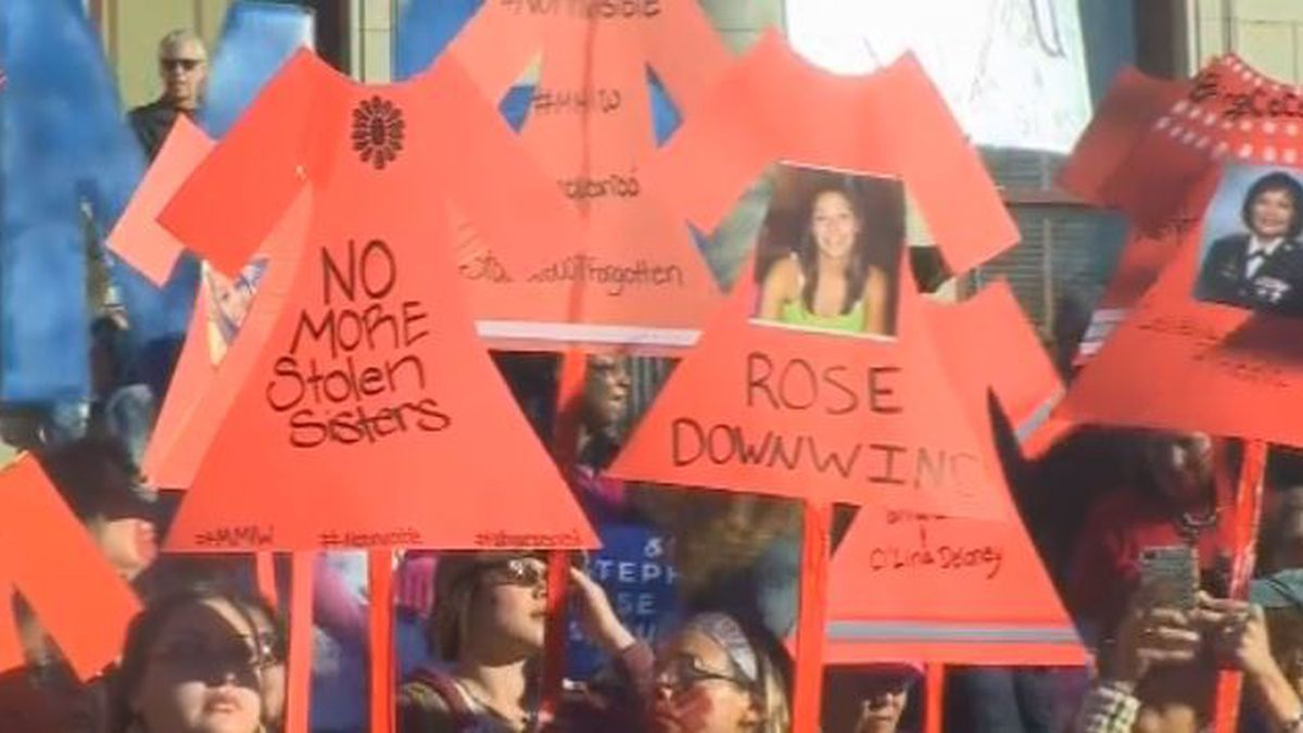 Some of the signs held up at the Womxn's March to represent missing and murdered indigenous women (source KKTV).
