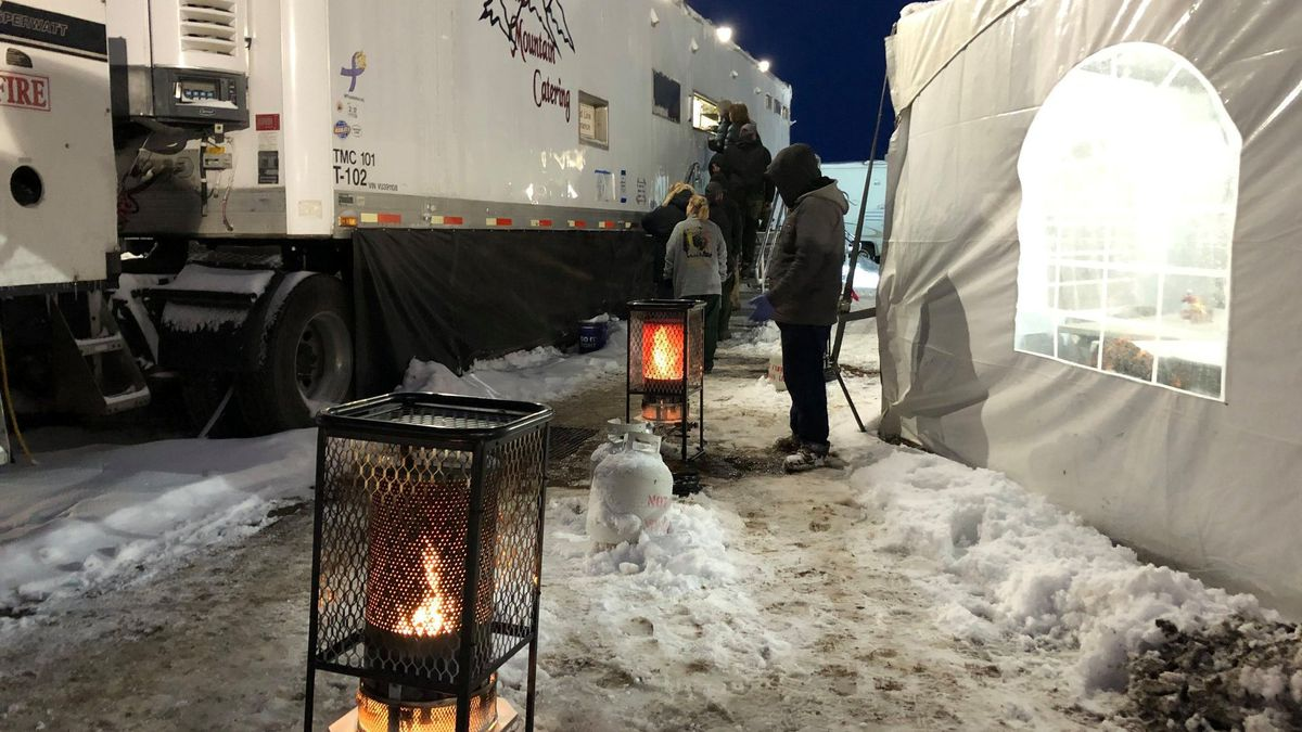 Firefighters camping at the Decker Fire woke up to 4 inches of snow on Oct. 24, 2019.
