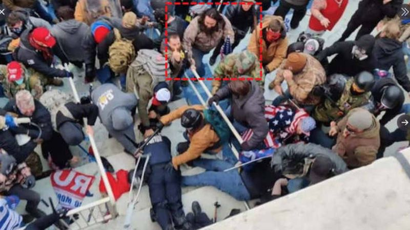 A DC police officer was beaten during the Jan. 6 Capitol riot by Peter Stager, highlighted in...