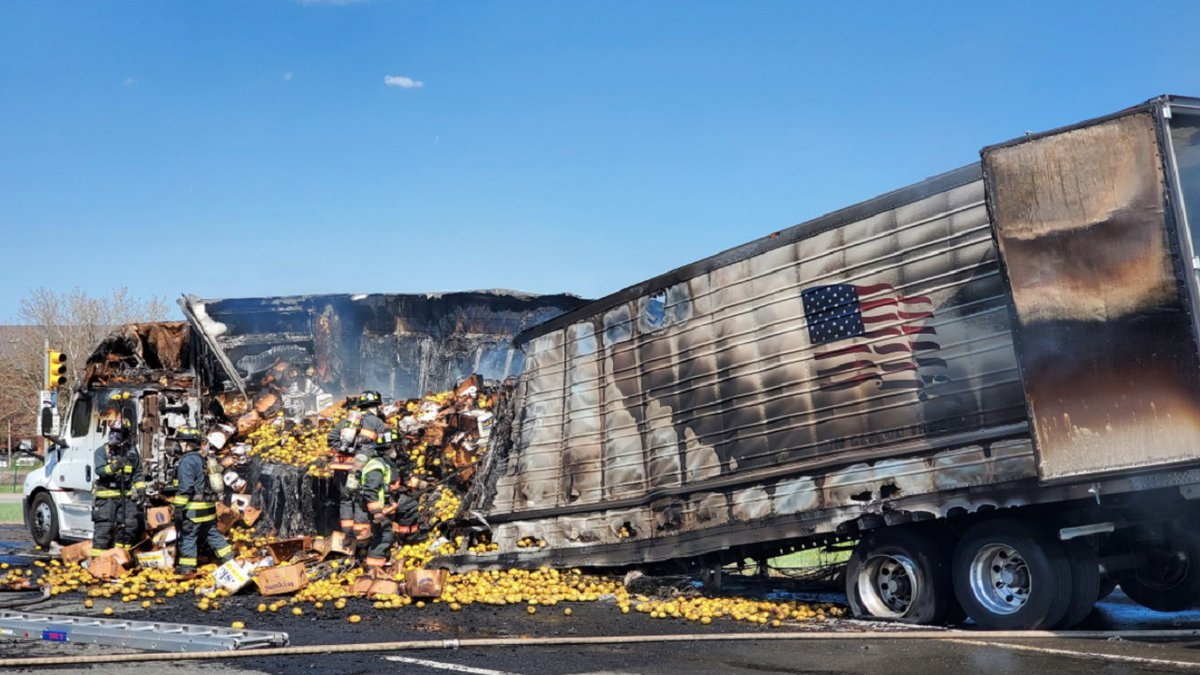 A truck carrying lemons caught fire on 5/12/21 along I-70 in Colorado.