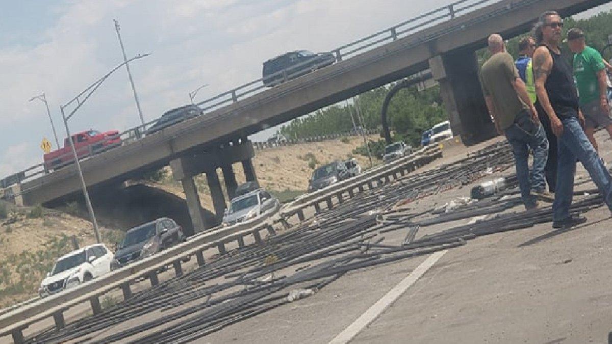 Debris on I-25 in Pueblo 6/22/21.