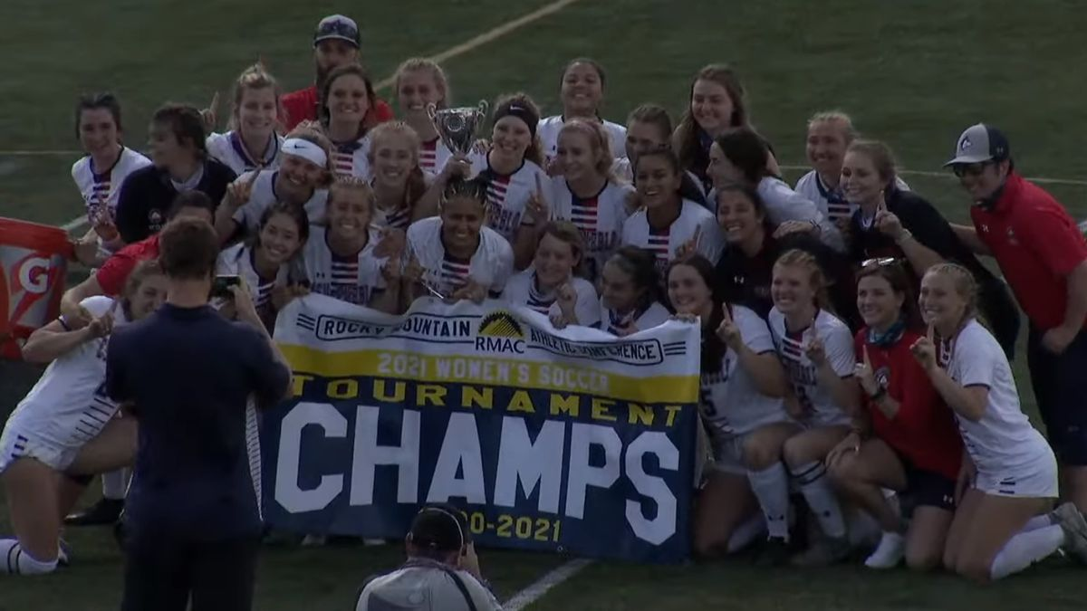 CSU-Pueblo women's soccer celebrates after claiming their first RMAC Tournament championship in...