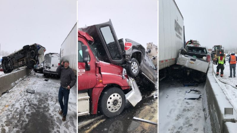 Multiple crashes closed I-25 NB in northern Colorado on Jan. 26.