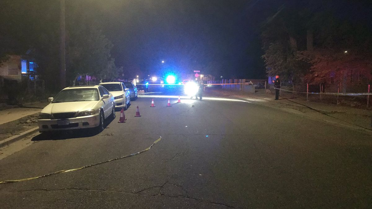 Pueblo police officers processing the scene of a shooting on Spruce Street on Aug. 7, 2020.