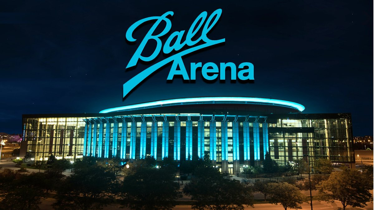 Promotional photo of Ball Arena in downtown Denver