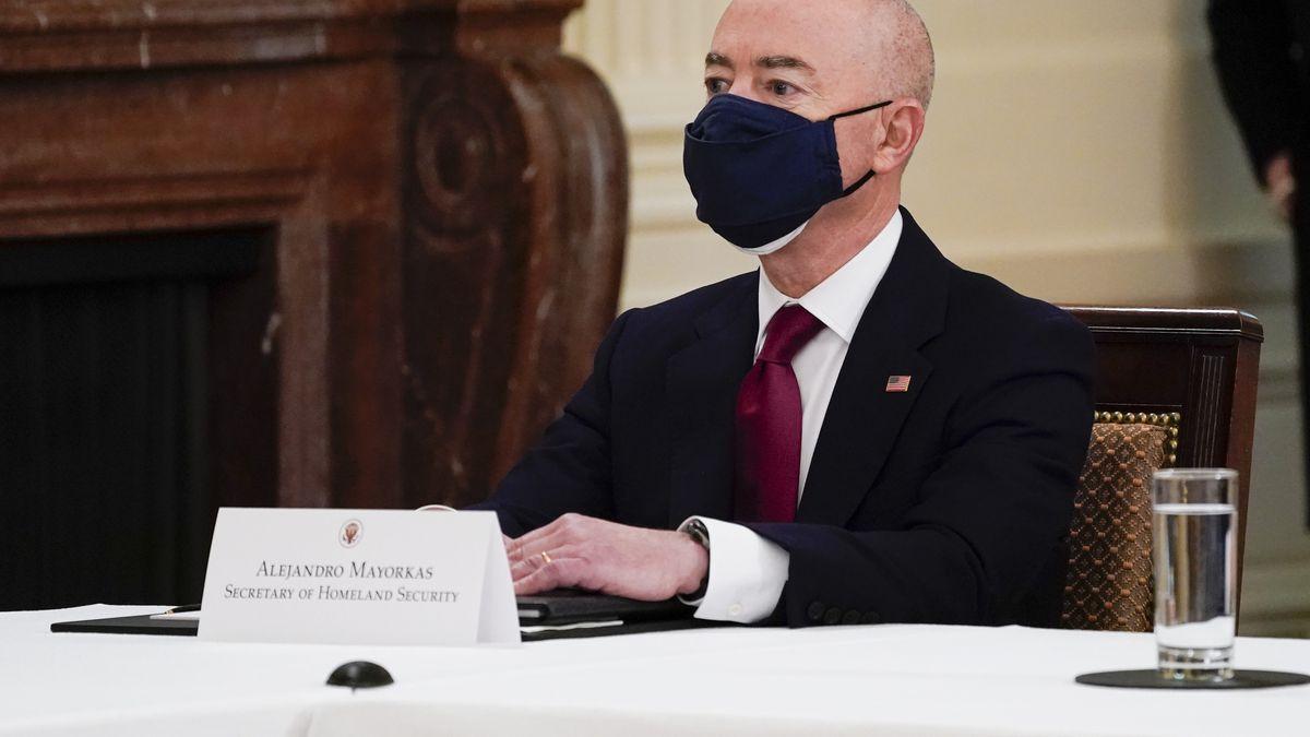 Secretary of Homeland Security Secretary Alejandro Mayorkas attends a Cabinet meeting with...