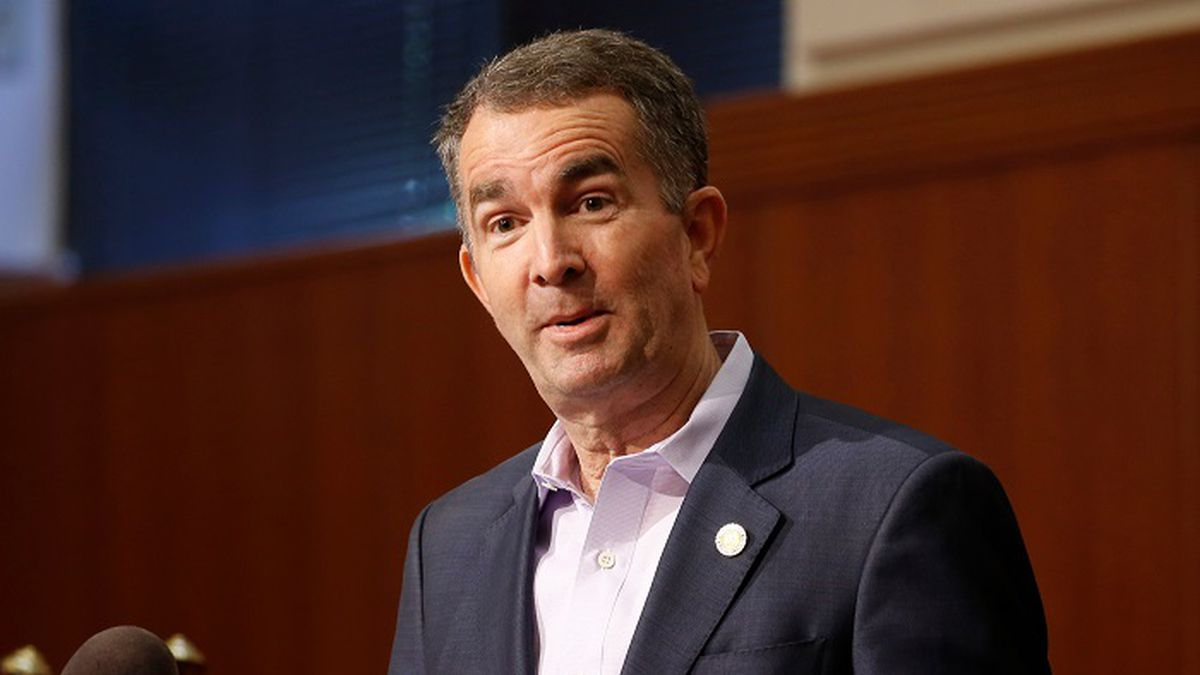 In this April 8, 2020 file photo, Virginia Gov. Ralph Northam gestures during a news conference at the Capitol in Richmond, Va. (Source: AP Photo/Steve Helber/AP)