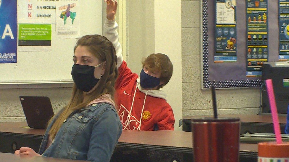 Kids with masks in a Colorado school.