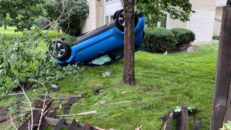 According to Colorado Springs police, a car crashed into the yard of a townhome near Templeton...