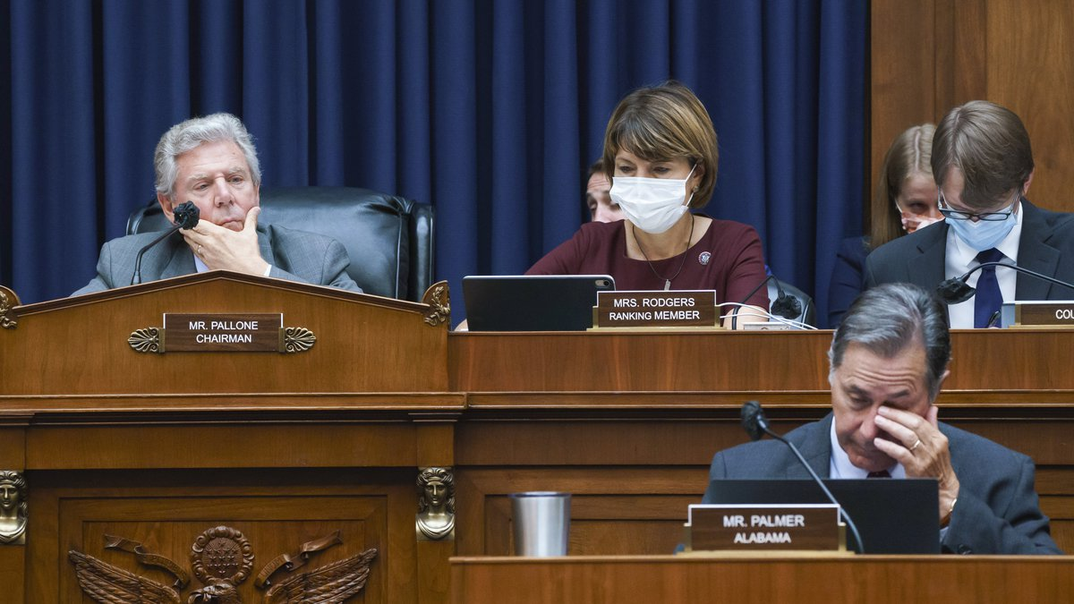 House Energy and Commerce Chairman Frank Pallone, D-N.J., left, with Rep. Cathy McMorris...