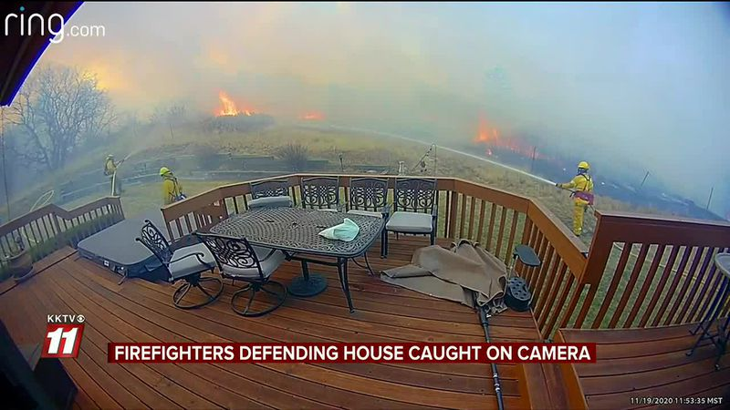 Firefighters Defending House Caught On Camera