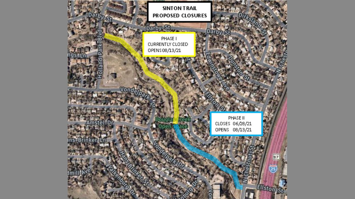 Sinton Trail closure will begin June 28 through mid-August and will be fully closed between...