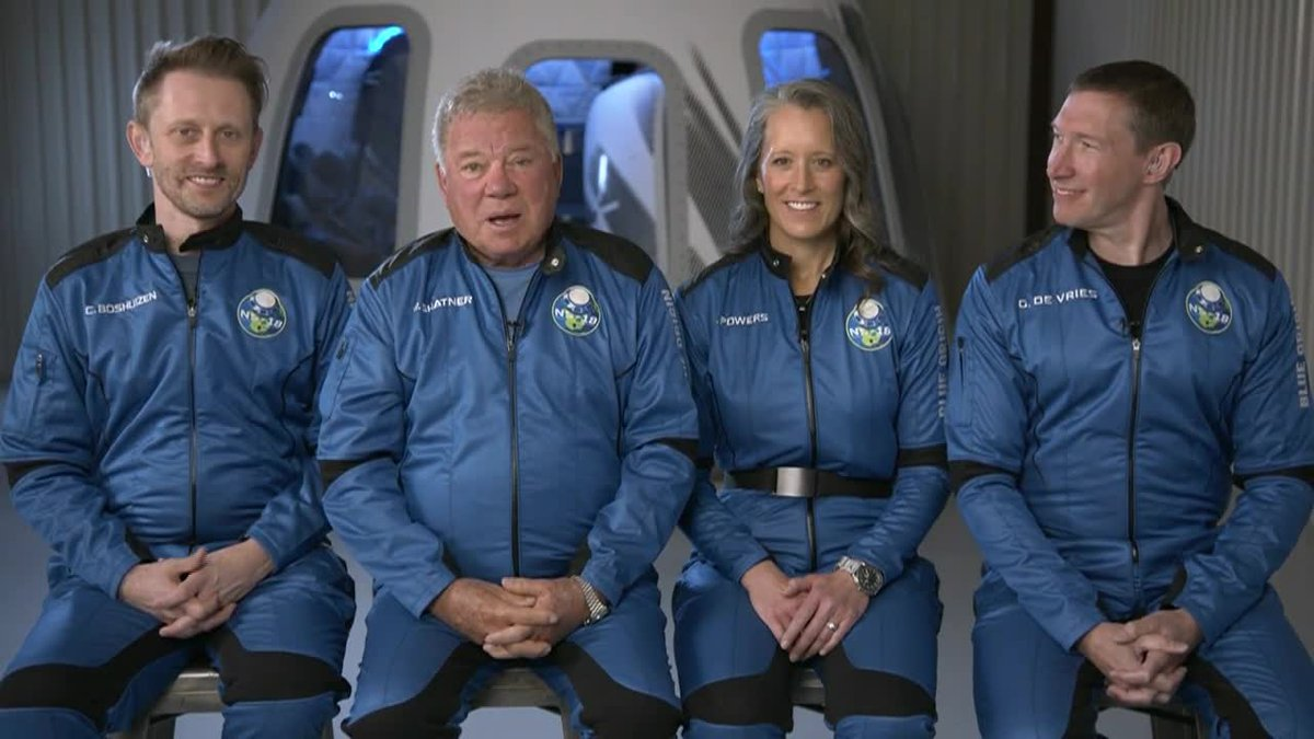 Actor William Shatner betrays a bit of anxiousness Monday ahead of his planned space travel.