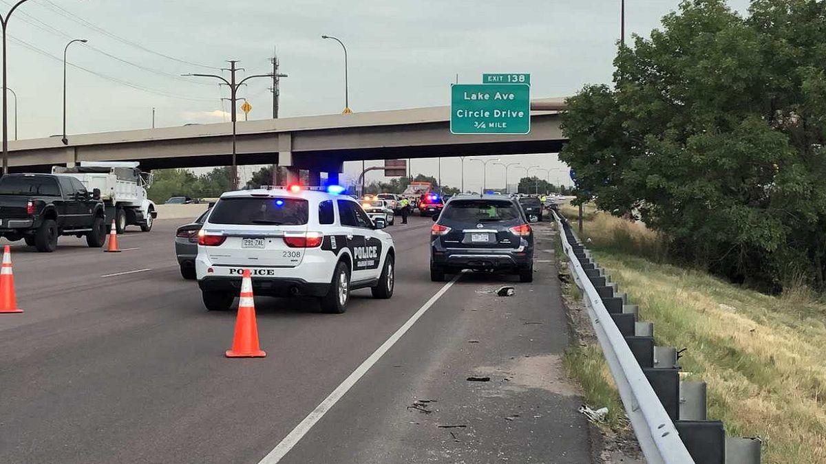 Serious rollover crash on southbound I-25 in Colorado Springs.  Photo taken 10/1/19.