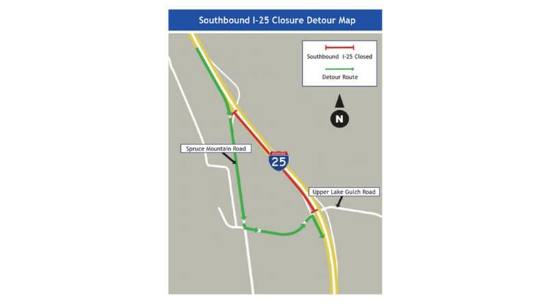 Drivers heading towards Larkspur should expect various overnight closures of southbound I-25...