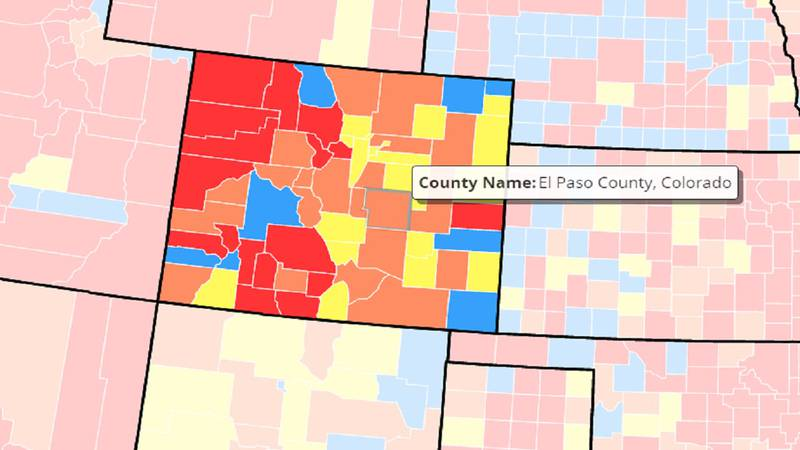 Level of Community Transmission map in Colorado as of 7/27/21.