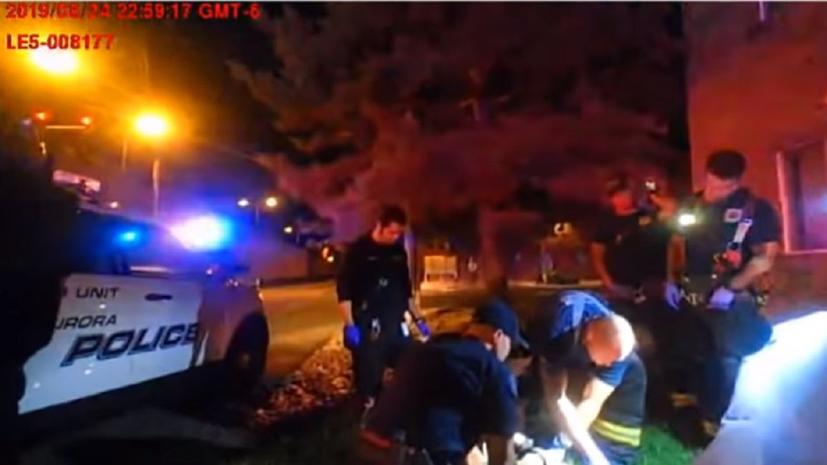 A still frame from body-worn camera footage tied to the death of Elijah McClain.  Photo courtesy Aurora PD.
