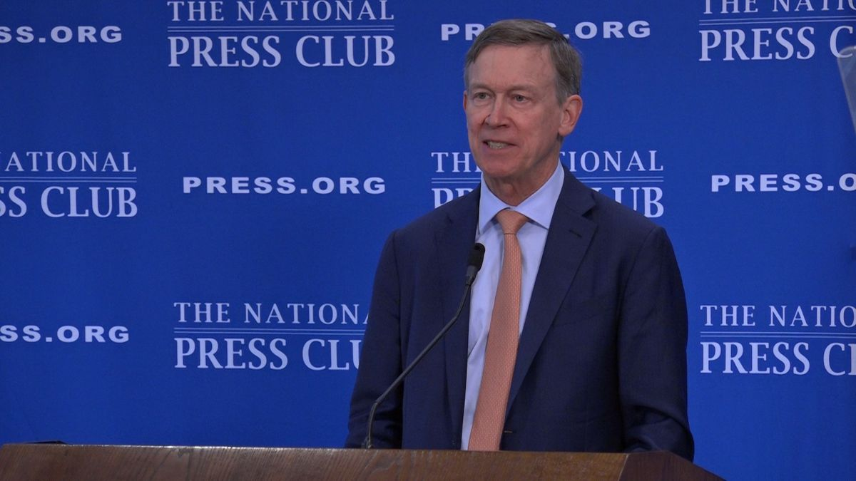Democratic presidential candidate John Hickenlooper discusses his plan if elected President at the National Press Club Headliner event on Thursday. (Source: Gray DC)
