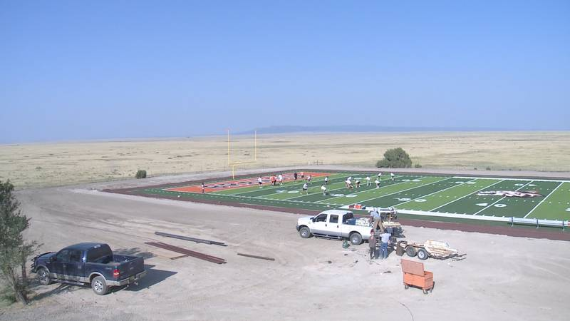 Construction continues on the astroturf field behind Branson school. The Bearcats first home...