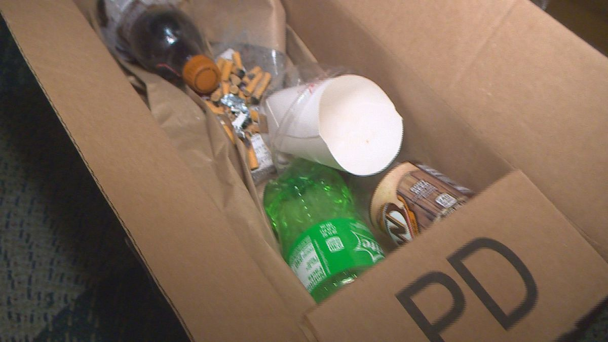 A Colorado Springs mom has been setting traps for porch pirates in her neighborhood.  She was showing off some of the items she put in the trap, including used kitty litter and cigarette butts.  Photo by KKTV 12/11/19.