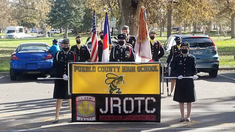 The Pueblo County High School Junior ROTC Color Guard will be presenting the flags to military...