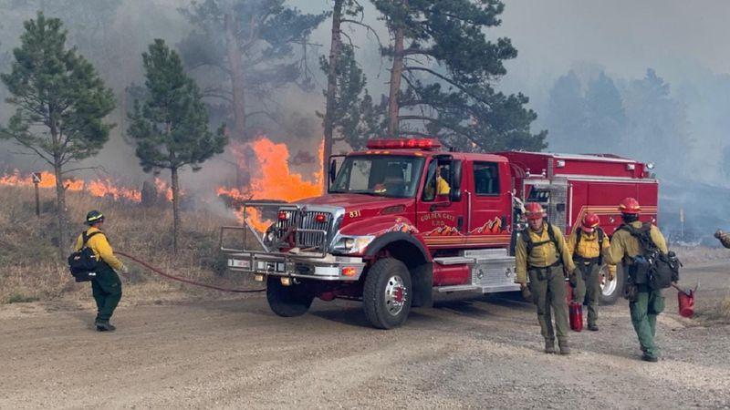 Photo of crews battling the Cameron Peak Fire 10/18/20.