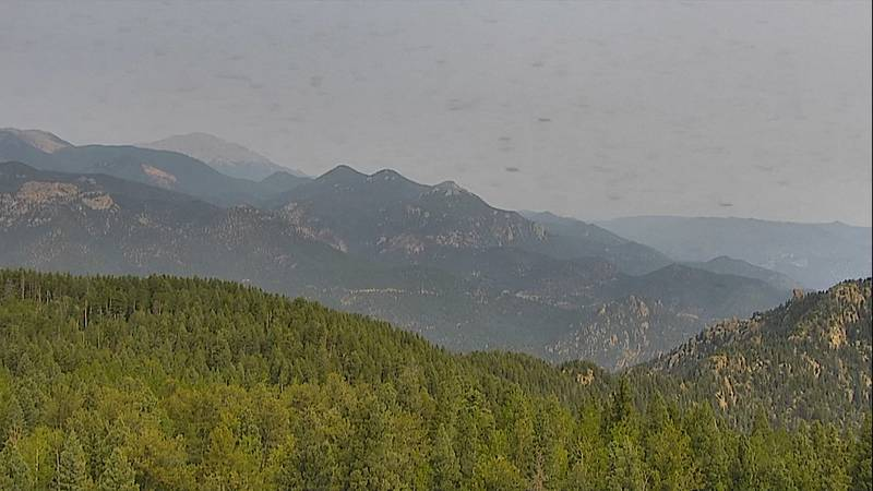 The view from the Cheyenne Mountain cam looking north towards Pikes Peak on July 12, 2021.