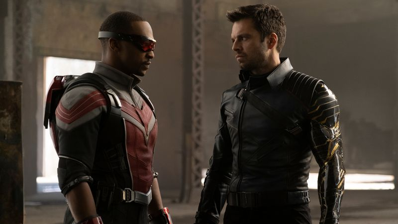 This image released by Disney Plus shows Anthony Mackie, left, and Sebastian Stan in a scene...