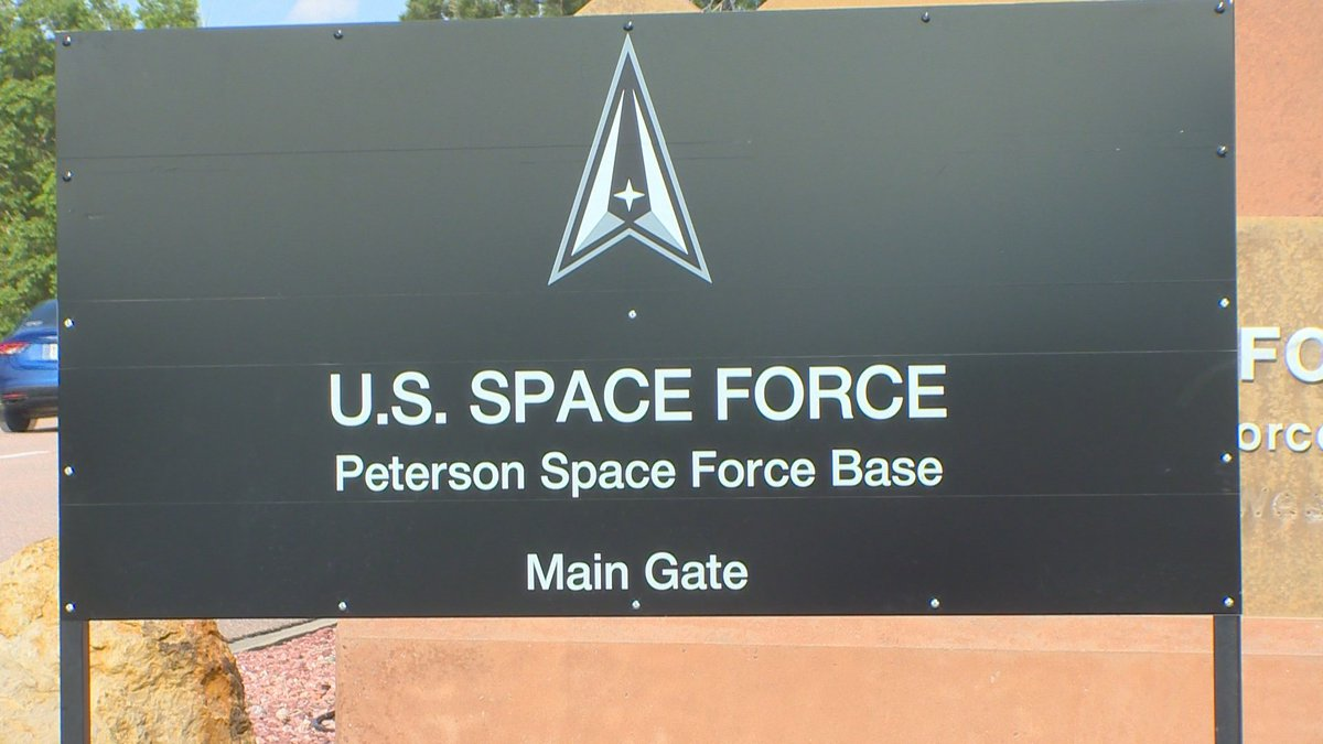 Sign for Peterson Space Force Base main gate.