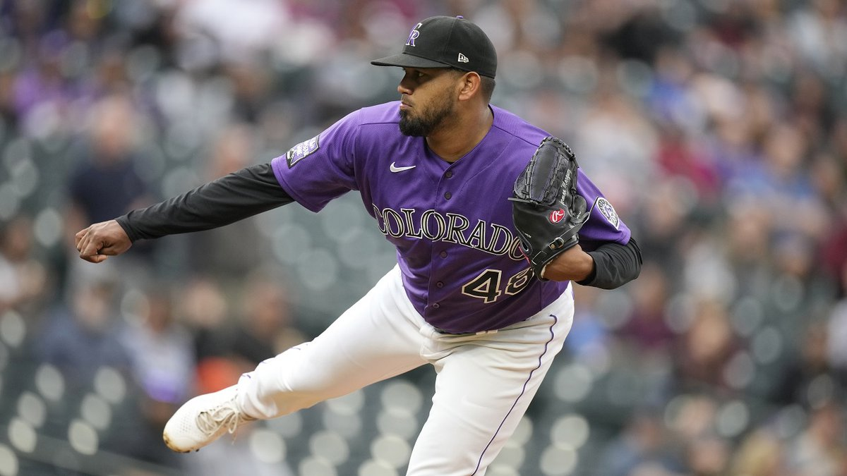 Colorado Rockies starting pitcher German Marquez works against the Pittsburgh Pirates in the...