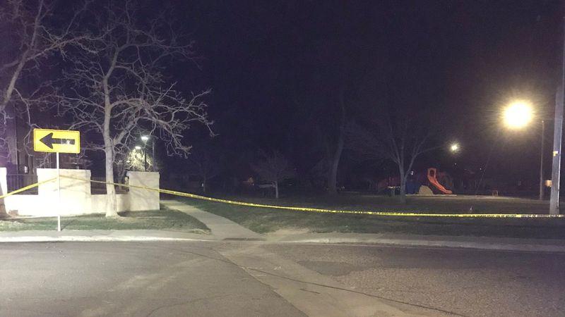 Crime tape near a playground at Pueblo's Bessemer Park on April 4, 2021.