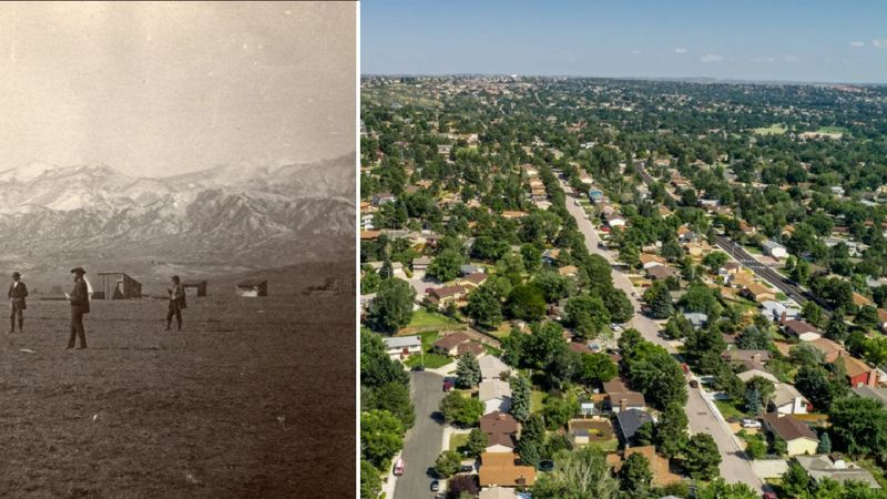 On the left: Photo from 1872 that shows the area of Cascade and Pikes Peak Avenues.  On the...
