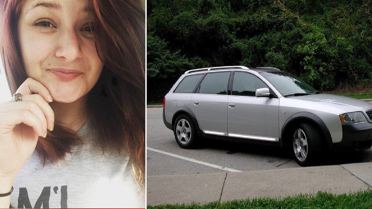 Photo of crash victim Olivia Clark.  Audi photo is similar to the suspect's vehicle according...