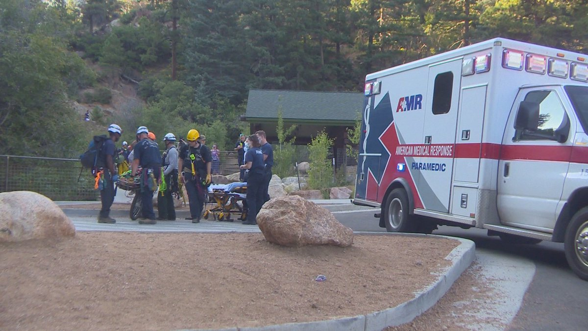 A hiker is hurt after rescue crews say he possibly fell while at Helen Hunt Falls Sunday.