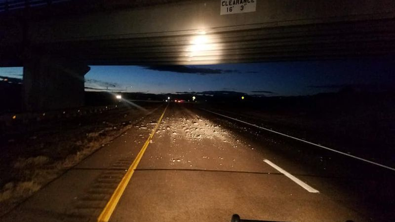 The bridge at Highway 115 and Highway 50.  The debris can be seen in the roadway.  CDOT crews...
