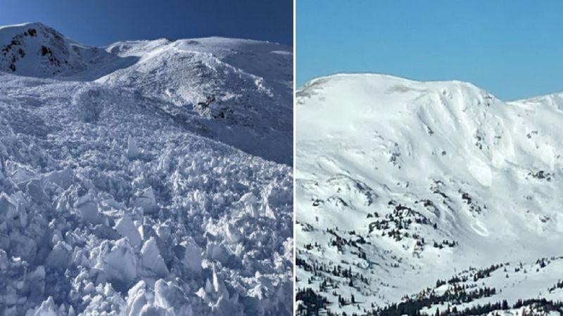The image on the left shows a very large snowmobile-triggered avalanche near Jones Pass. The...
