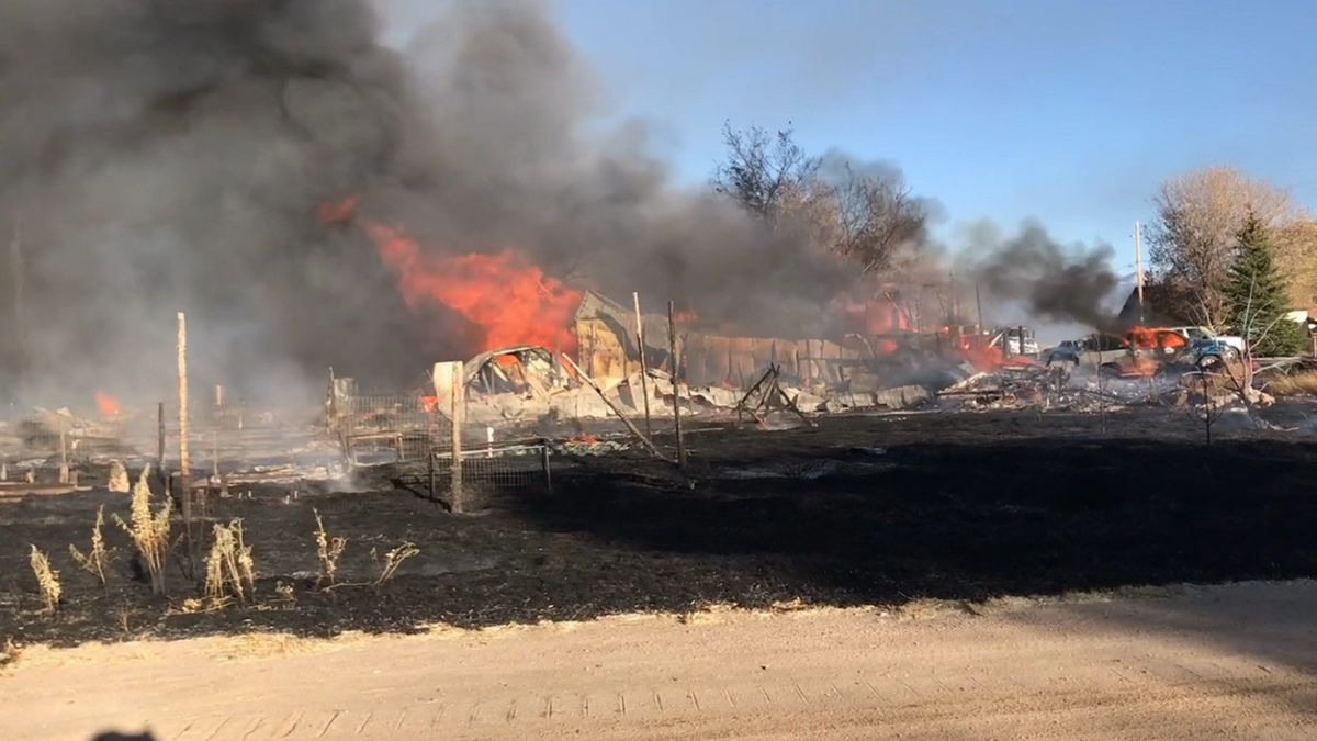 A massive fire destroyed three homes in Moffat.  Photo courtesy Keith Cerny/Valley Courier.